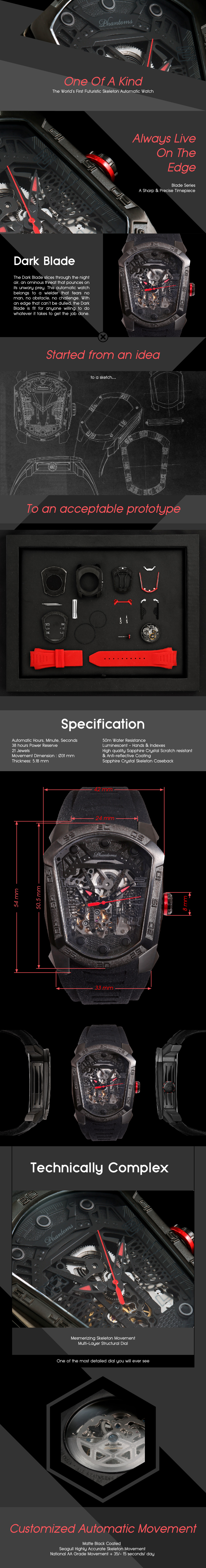 Dark Blade Futuristic Mechanical Skeleton Watch