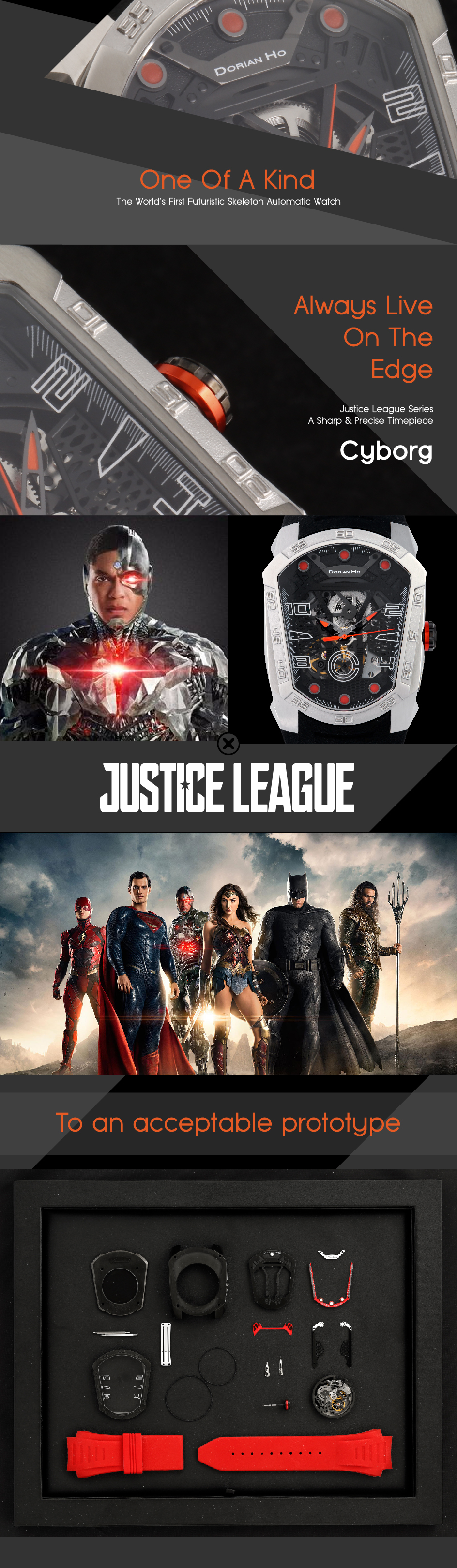cyborg justice league dorian ho collection phantoms collaboration super hero automatic mechanical watch