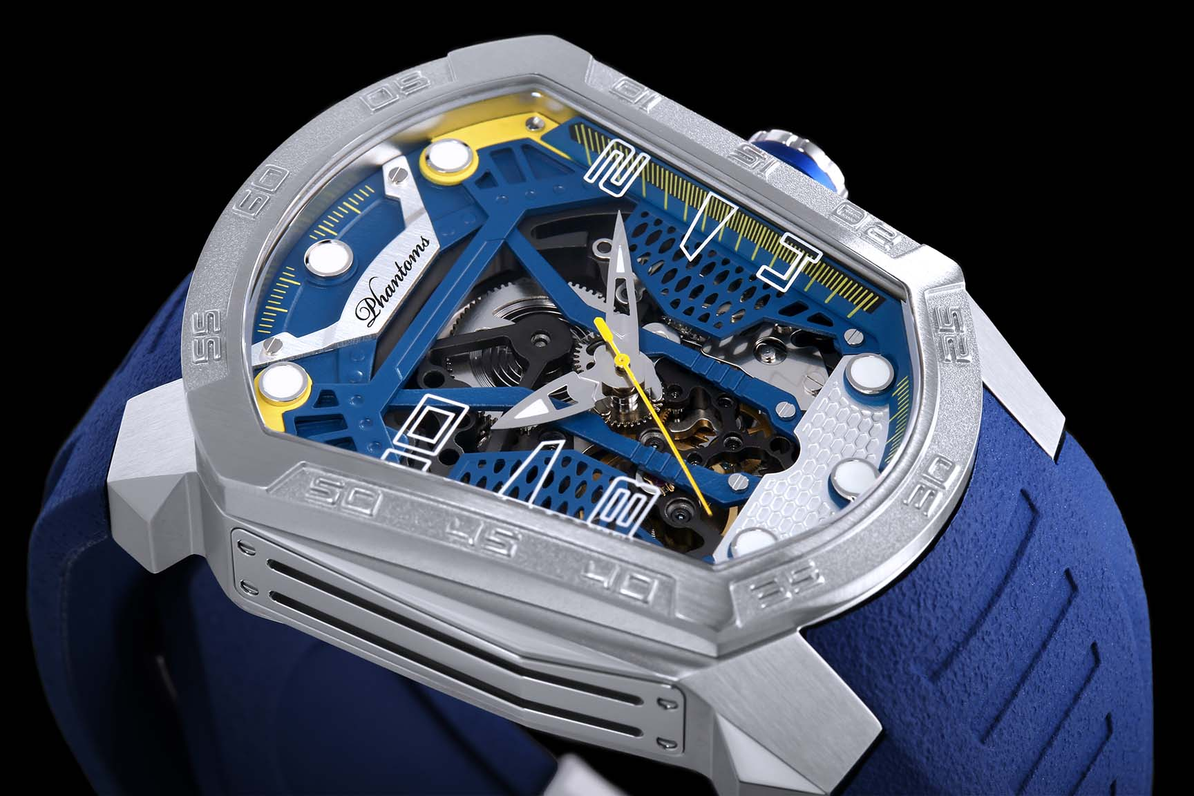 Skyline Blade mechanical watch white automatic watch phantoms tourbillon Blue strap