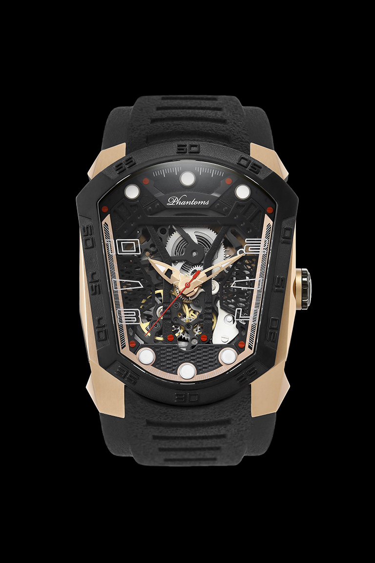 Triumph Blade mechanical watch white automatic watch phantoms tourbillon Rose Gold Watch Rubber Strap