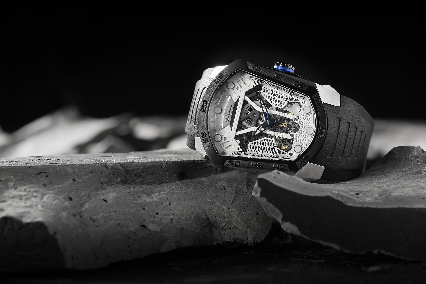 Hurricane Blade mechanical watch white automatic watch phantoms tourbillon White dial sports Watch Rubber Strap