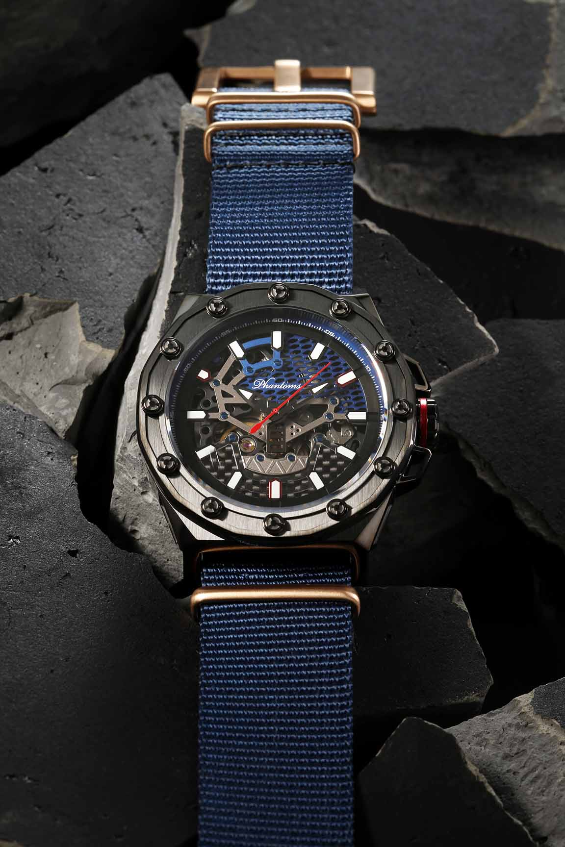 Talisman Boneyard Phantoms Automatic Watch Blue Strap Skeleton Movement