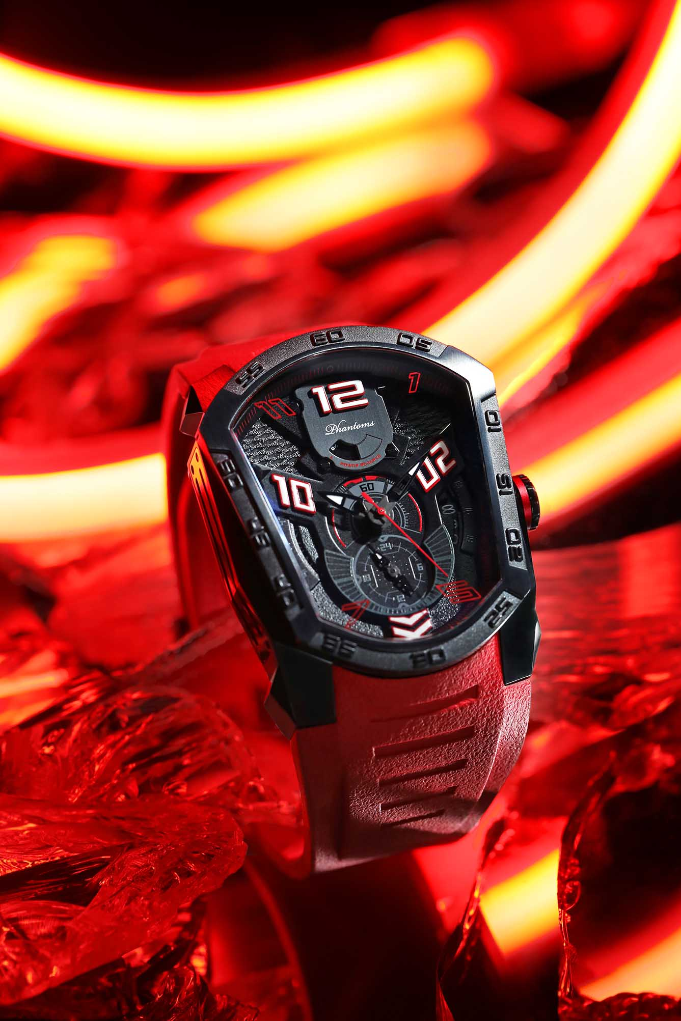 Flaming Laser Series Japanese Miyota Automatic Watch, Phantoms Watch Tourbillon, Sporty Mechanical Watch For Men